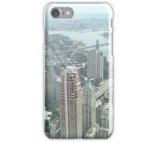 Aerial View of  Lower Manhattan, Manhattan, Brooklyn Bridges, from One World Observatory, World Trade Center Observation Deck, New York City  iPhone Case/Skin