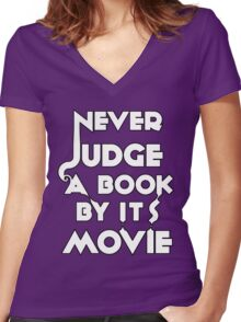 Never Judge A Book By Its Movie - White Women's Fitted V-Neck T-Shirt