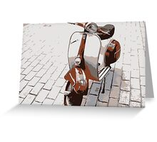 Vespa Scooter in Brown Greeting Card