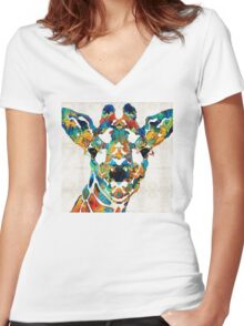 Colorful Giraffe Art - Curious - By Sharon Cummings Women's Fitted V-Neck T-Shirt