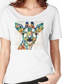 Colorful Giraffe Art - Curious - By Sharon Cummings Women's Relaxed Fit T-Shirt