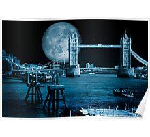 Blue Moon: Tower Bridge London UK Poster
