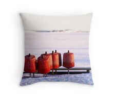 Winter Red Shapes Throw Pillow