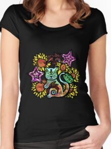 China Cat Sunflower Women's Fitted Scoop T-Shirt