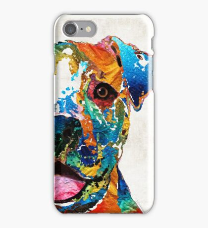Colorful Dog Pit Bull Art - Happy - By Sharon Cummings iPhone Case/Skin