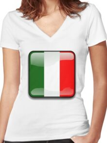 Italian Flag, Italy Icon Women's Fitted V-Neck T-Shirt