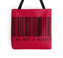 Barcode I Am Not A Number in Red Tote Bag