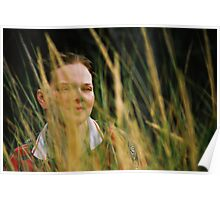 Cat In Grass Poster