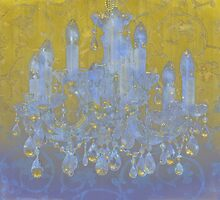 Champagne Ballroom glowing glitter damask chandelier by Glimmersmith