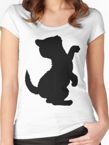 Adorable Kitten Cat Silhouette, Cute Cats Women's Fitted Scoop T-Shirt