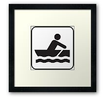 Rowing, Sailing Paddle Boat Icon Framed Print