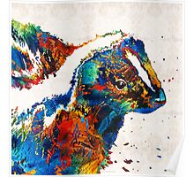 Colorful Skunk Art - Dee Stinktive - By Sharon Cummings Poster