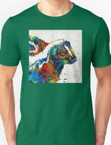 Colorful Skunk Art - Dee Stinktive - By Sharon Cummings T-Shirt