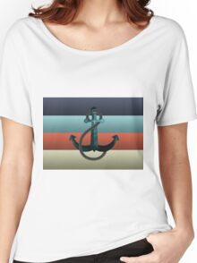 Nautical Anchor Textured Flag Women's Relaxed Fit T-Shirt