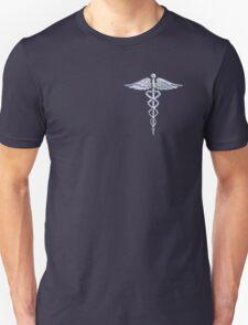 Chrome like Medical Caduceus Snakes Unisex T-Shirt