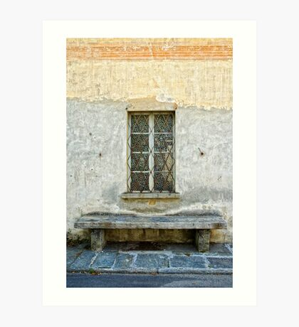 Window and bench Art Print