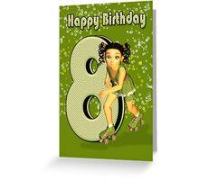 8th Birthday Card With Little Girl Skater Greeting Card