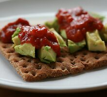 avocado and salsa on wasa. by x99elledge