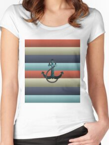 Nautical Anchor Background Women's Fitted Scoop T-Shirt