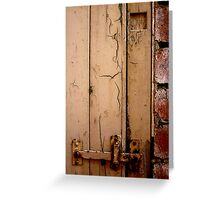 The locked door of the shed Greeting Card