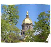 Golden Dome Through the Trees-Notre Dame Poster
