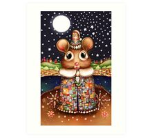 Little Bright Eyes the Radiant Christmas Mouse Art Print
