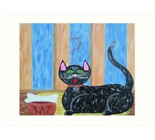 Cat and Bone? Art Print