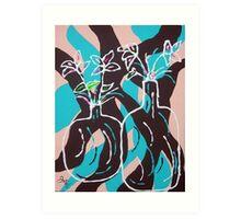 Retro Vase and Flowers Art Print