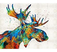 Colorful Moose Art - Confetti - By Sharon Cummings Photographic Print