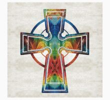 Colorful Celtic Cross by Sharon Cummings One Piece - Short Sleeve