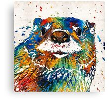 Otter Art - Ottertude - By Sharon Cummings Canvas Print