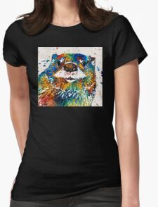 Otter Art - Ottertude - By Sharon Cummings Womens Fitted T-Shirt