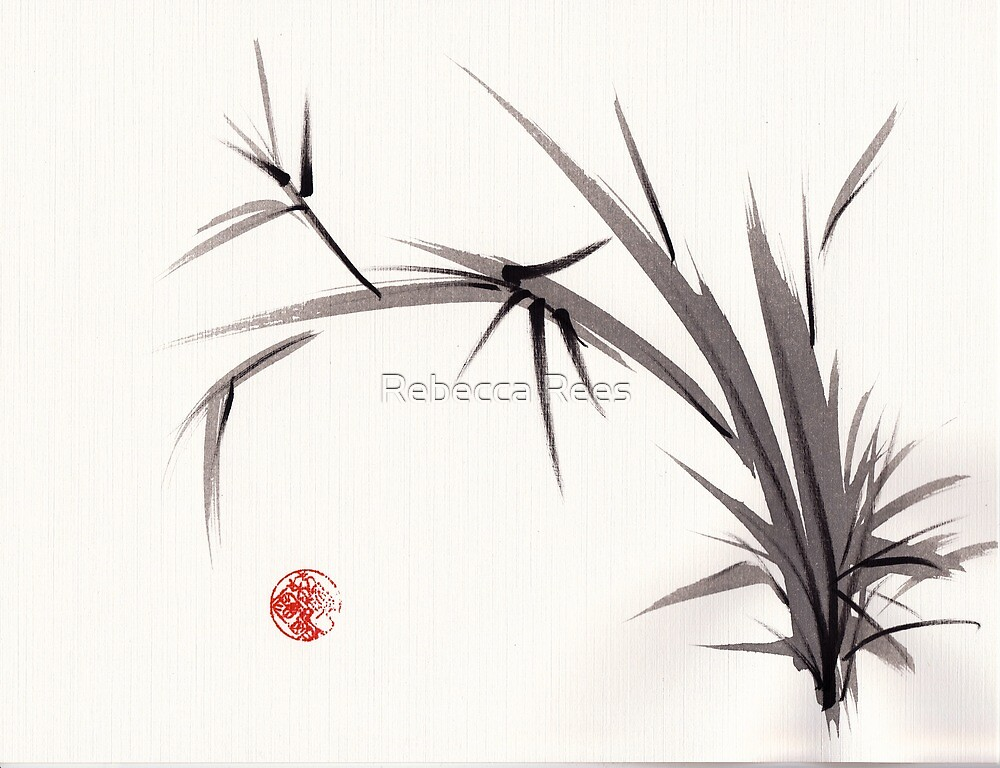 """Horizon""  original ink and wash bamboo sumi-e painting by Rebecca Rees"