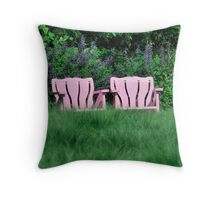 Two Chairs in Pink to Sit and Think Throw Pillow