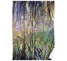Blue Green Willow Water Poster