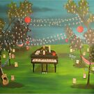 Grand piano and guitar in a lit up forest by Melissa Goza