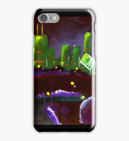 Chicago Skyline: Green and Purple iPhone Case/Skin
