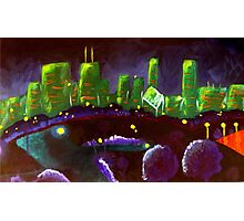 Chicago Skyline: Green and Purple Photographic Print