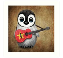 Baby Penguin Playing Vietnamese Flag Guitar Art Print