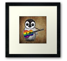Baby Penguin Playing Gay Pride Rainbow Flag Guitar Framed Print