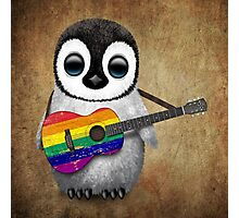 Baby Penguin Playing Gay Pride Rainbow Flag Guitar Photographic Print