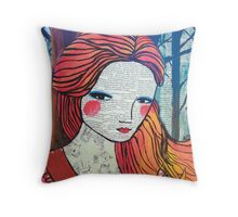 Little Red modern red portrait Throw Pillow