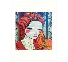 Little Red modern red portrait Art Print