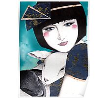 Portrait of a japanese inspired woman Poster