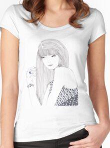 Haute Couture Fashion Illustration Portrait Women's Fitted Scoop T-Shirt