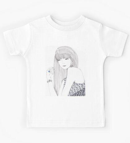 Haute Couture Fashion Illustration Portrait Kids Tee