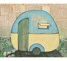 Travelling in a retro caravan Photographic Print