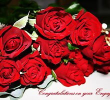 Bunch of Red Roses Engagement Card by Julia Harwood