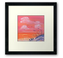 """Beach-Orange"" Framed Print"