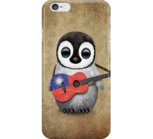 Baby Penguin Playing Taiwanese Flag Guitar iPhone Case/Skin